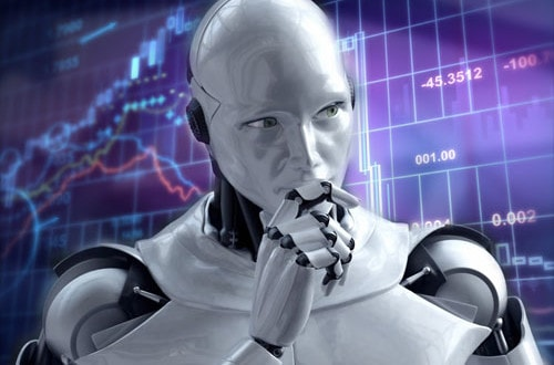 forex robot in front of a chart