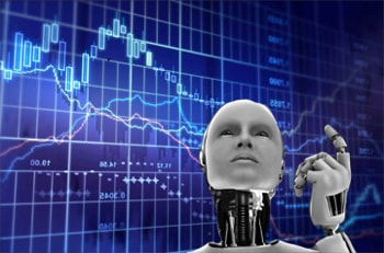 a robot in front of a forex chart
